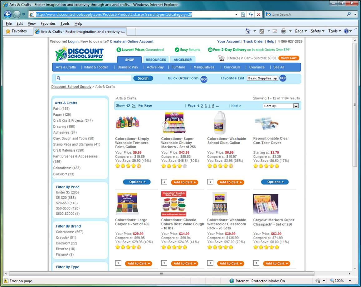 discount school supply website design analysis